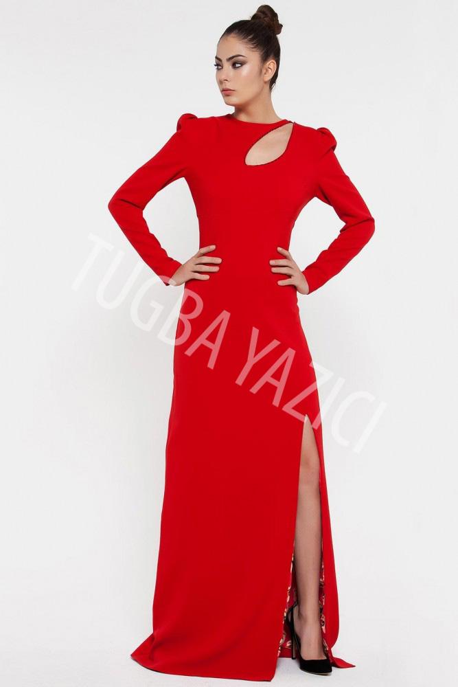 Asimetrik Uzun Kollu Red Carped Elbise