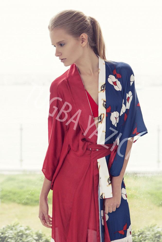 Kırmızı Mavi Kısa Püsküllü Kimono