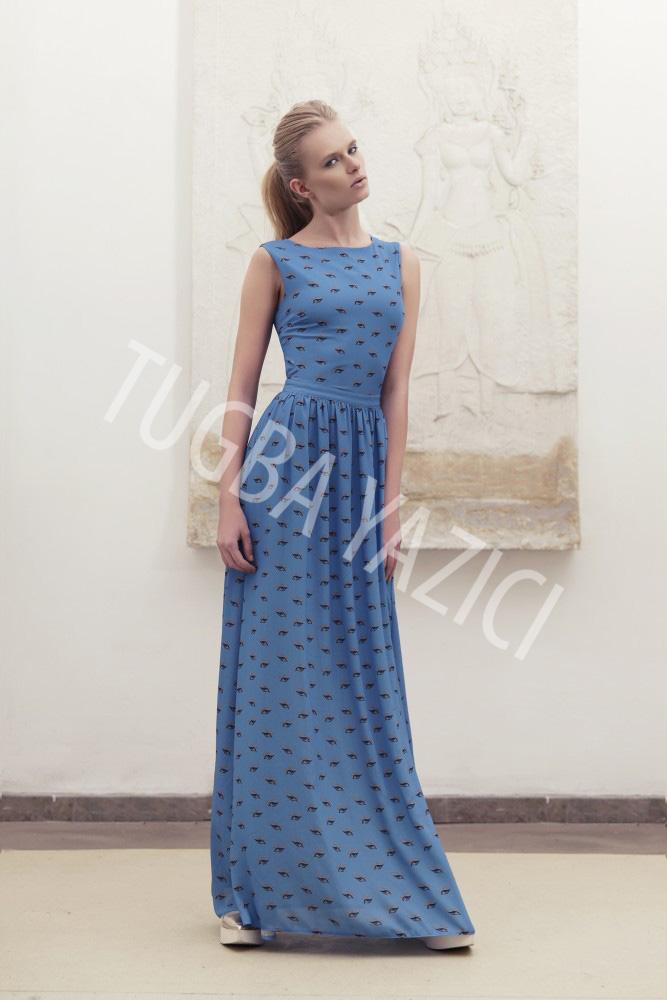 Uzun Mavi Krep Elbise