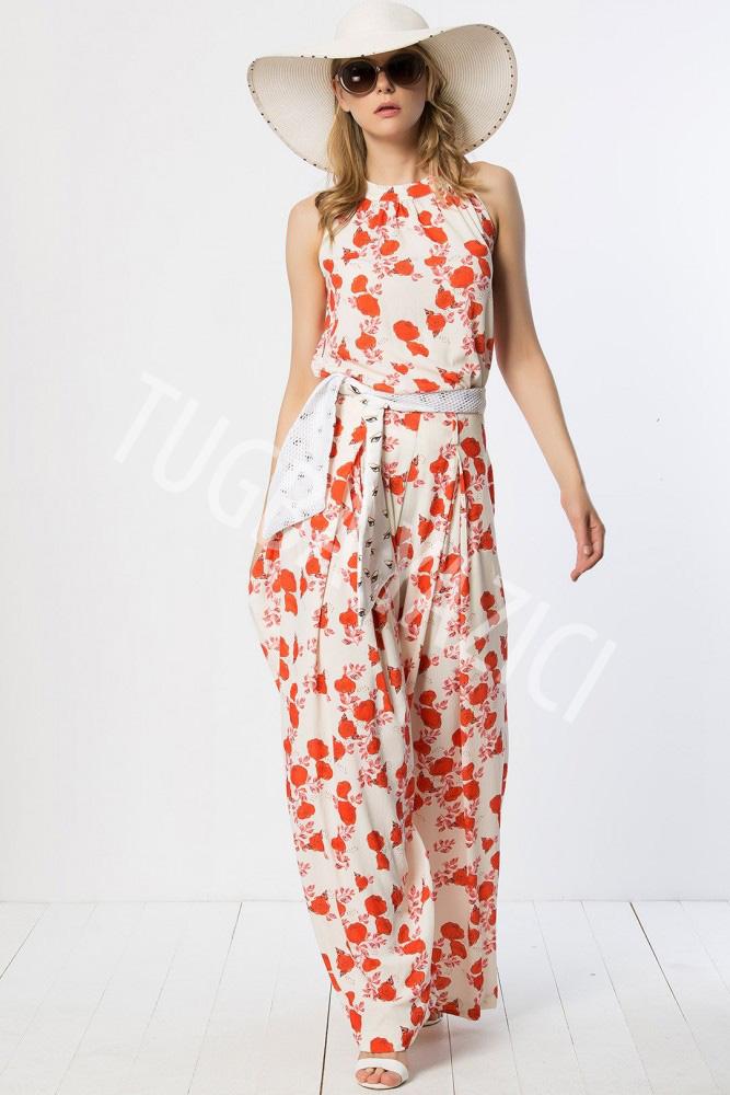 Kırmızı Çiçekli Pantolon ve Üst