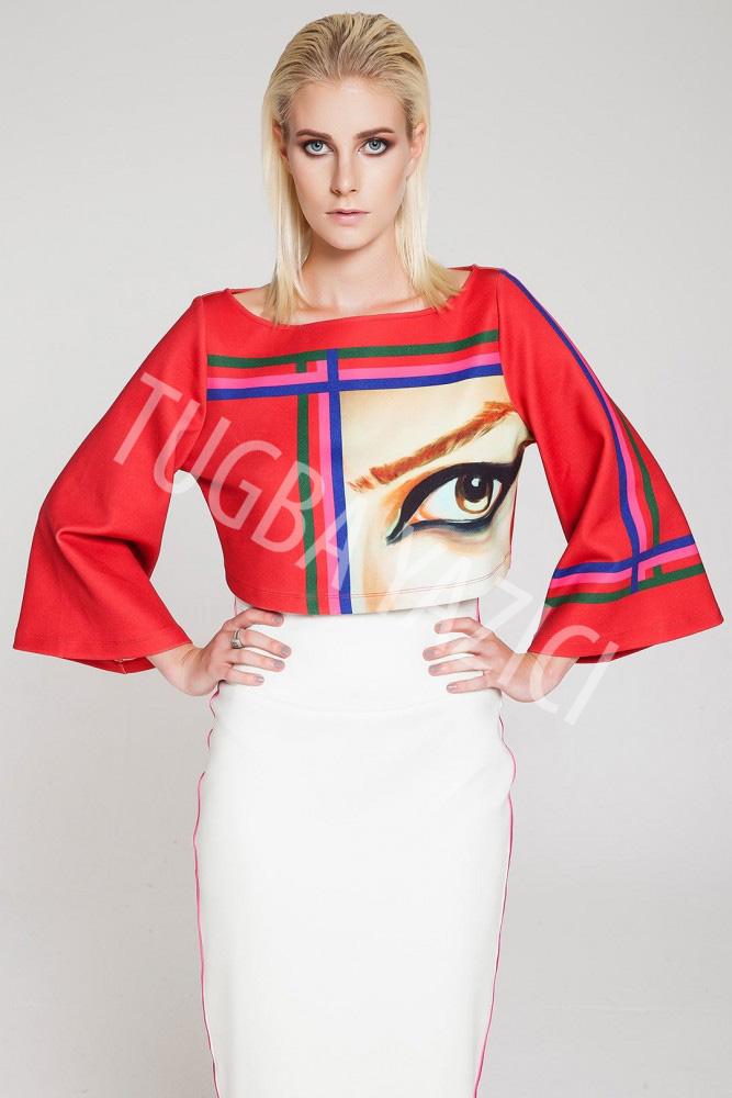 Kırmızı Gözlü Crop Bluz