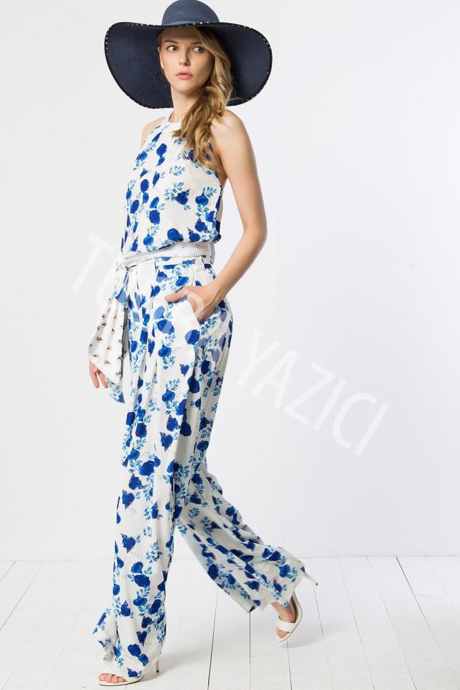 Mavi Çiçekli Pantolon ve Üst