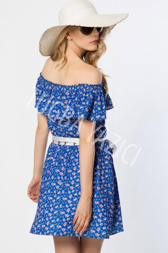 Omuzları Açık Çiçekli Kısa Elbise