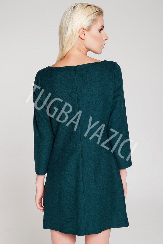 Uzun Kollu Yesil Gozlü Elbise