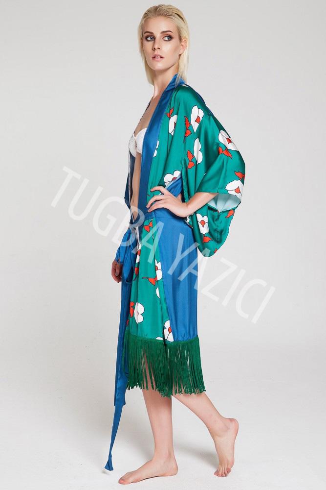 Yeşil Mavi Kısa Püsküllü Kimono